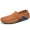 Men Comfy Leather Non Slip Soft Sole Casual Driving Shoes - Brown