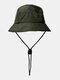 ユニセックスレトロソリッドヒップホップサンシェード調節可能な巾着バケットハット - 緑