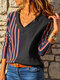 Striped Patchwork V-neck Long Sleeve Plus Size Casual Shirt For Women - Black