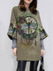 Vintage Dragonfly Printed Long Sleeve O-neck Dress For Women - Green