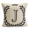 English Letters Olive Branch Pattern Bed Throw Pillow Case Cushion Cover Home Sofa Decor - J