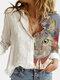 Cartoon Cat Printed Lapel Collar Button Long Sleeve Blouse - White