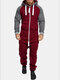 Mens Colorblock Jumpsuits Double Open Zip Up Drawstring Hooded Sport Jogger Sweatsuit - Red