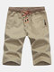 Mens Summer 100% Baumwolle Drawstring Solid Color Knie Länge Casual Shorts