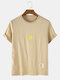 Mens Cotton Solid Color Small Sun Breathable Loose O-Neck T-Shirts - Apricot