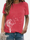 Short Sleeve Flower Print Casual O-neck T-shirt - Red
