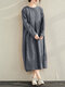 Plaid Print Pleated O-neck Long Sleeve Casual Dress for Women - Navy
