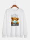 Mens Cartoon Bear Letter Printed 100% Cotton Casual Pullover Sweatshirts - White