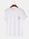 Mens 100% Cotton Halloween Cartoon Ghost Print Casual Short Sleeve T-Shirts - White