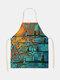 木と鳥の絵のパターンのクリーニングColorfulエプロン家庭料理キッチンエプロンクックウェアコットンリネン大人のよだれかけ - #12
