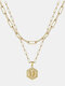 Luxury 14K Gold Plated Hexagonal Women Necklace Gold Layered Paperclip Link 26 Initials Pendant Necklace - U