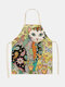 Cartoon Color Cat Pattern Cleaning Colorful Aprons Home Cooking Kitchen Apron Cook Wear Cotton Linen Adult Bibs - #06