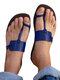 Plus Size Casual Beach Thumb Toe Flat Hausschuhe Für Damen - Blau