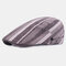 Cotton Linen Beret Casual Forward Hat Colorful Striped Sun Hat - Coffee
