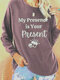 Casual Letters Print O-neck Long Sleeve Plus Size T-shirt - Pink