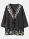 Vintage Floral Print Knotted Three-quarters Sleeve Casual Blouse for Women - Gray