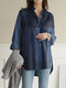 Plaid Print Long Sleeves Casual Loose Blouse With Pockets - Blue
