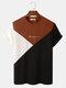 メンズ刺繡トリコロールニットテクスチャ半袖Tシャツ - コーヒー