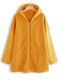 Fleece color sólido con capucha bolsillos abrigo de manga larga