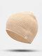 ユニセックスポリエステルコットンニットソリッドレタークロスラベルオールマッチ暖かさビーニーハット - ダークベージュ