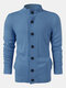 Mens Solid Color Button Up Stand Collar Casual Knitted Cardigan Sweater - Blue