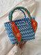 女性ボヘミアストロープラスチックリボンビーチハンドバッグ - 青