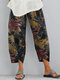 Flower Print Elastic Waist Casual Pant For Women With Pocket - Blue