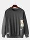 Mens Cotton Cartoon Cat Printing Applique Relaxed Fit Crew Neck Sweatshirts - Grey