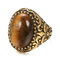 Vintage Metal Carved Rough Stone Ring Geometric Oval Cat Eye Crystal Finger Ring - 01
