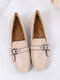 Women's Solid Color Slip On Casual Elegant Square Toes Loafers Shoes - Beige(Plus Lining)