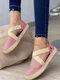 Plus Size Bequeme Wildleder Woven Elastic Band Flache Espadrilles Schuhe Für Damen - Rosa