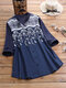 Lace Embroidery Floral Patchwork Button V-neck Long Sleeve Blouse - Navy