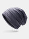 Women & Men Striped Warm Outdoor Solid Color Casual Personality Brimless Beanie Hat - Navy