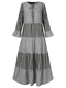 Striped Print Knotted Bell Sleeve Plus Size Long Dress for Women - Black