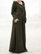 Hollow Bandage Long Sleeve Hooded Casual Maxi Dress For Women - Green