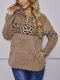 Plush Patched Leopard Printed Fluffy Fleece Fur Sweater For Women - Khaki