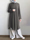 Solid Color Button Long Sleeve Pleated Casual Blouse Dress For Women - Gray