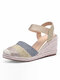 Women's Closed Toes Sandals Casual Metallic Espadrille Wedges - Gold