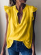 Solid Color Sleeveless V-neck Casual Blouse For Women - Yellow
