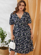 Floral Print Knotted Plus Size Holiday Dress for Women - Navy