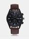 Vintage Men Watch Thin Leather Band Waterproof Digital Quartz Watch - Black Dial Brown Band