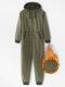 Men Thicken Heated Cotton Loungewear Jumpsuits 2 Ways Zipper Down Liner Fleece Hooded Onesies with Pockets - Green