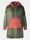 Men Flannel Oversized Contrast Color Blanket Hoodies Patched Sleeves & Kangaroo Pocket Wearable Blankets Robes - Green