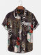 Mens 100% Cotton Ethnic Style Print Short Sleeve Shirt With Pocket - Brown