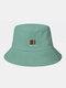 ユニセックスコットンソリッドカラーレタースモールカラーブロックパターンプリントオールマッチサンシェードバケットハット - 緑