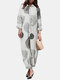 Tree Rings Print Button Long Sleeve Casual Jumpsuit for Women - White