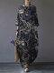 Tree Print Side Pockets O-neck 3/4 Sleeve Cotton Dress - Navy