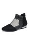 Women Artificial Crystal Embellished Mesh Splicing Synthetic Suede Pointed Toe Block Heel Ankle Boots - Black