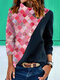 Graphic Print Patchwork Long Sleeves Heaps Collar Sweatshirt For Women - Red