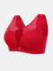 Plus Size Wireless Double Front Closure Lace Gather Lightly Lined Minimizer Bra - Red